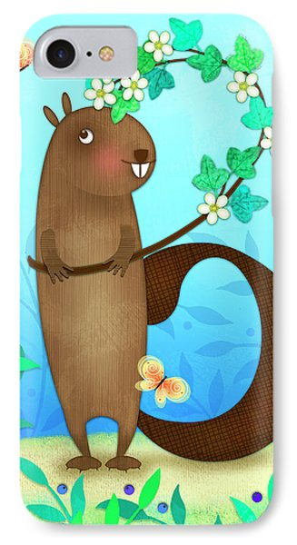 B Is For Beaver With A Blossoming Branch IPhone Case by Valerie Drake Lesiak
