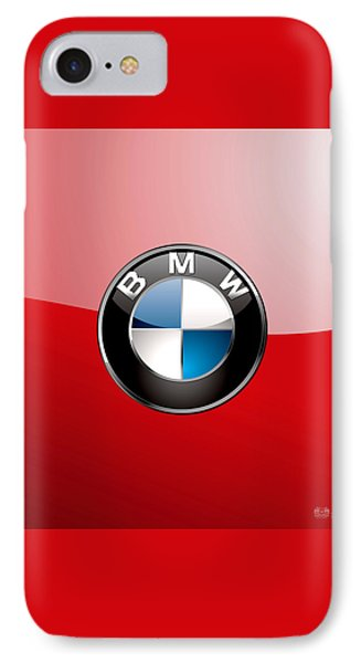 B M W Badge On Red  Phone Case by Serge Averbukh