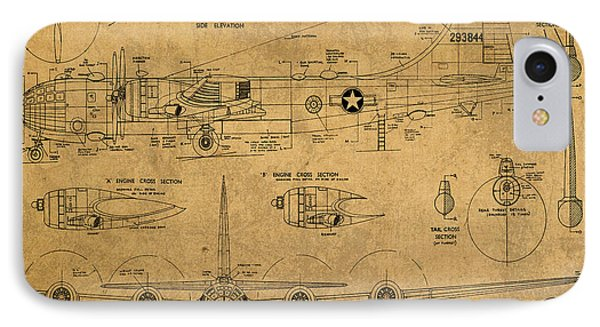 B29 Superfortress Military Plane World War Two Schematic Patent Drawing On Worn Distressed Canvas IPhone Case by Design Turnpike