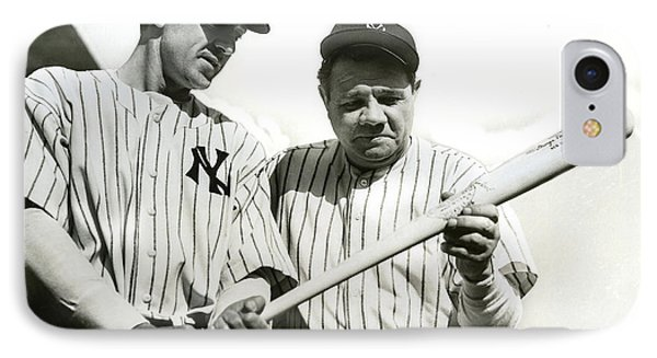 Baseball Gloves iPhone 7 Case - Babe Ruth And Lou Gehrig by Jon Neidert