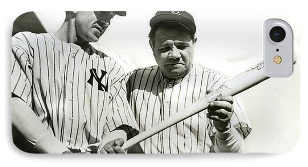 Babe Ruth And Lou Gehrig IPhone Case by Jon Neidert