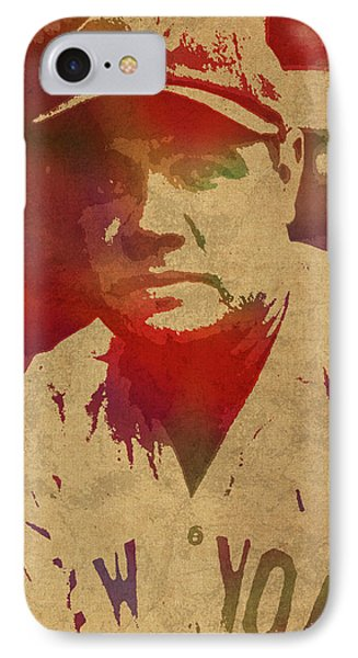Babe Ruth Baseball Player New York Yankees Vintage Watercolor Portrait On Worn Canvas IPhone 7 Case