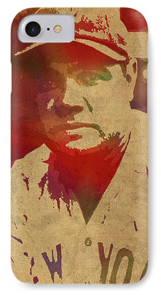 Babe Ruth Baseball Player New York Yankees Vintage Watercolor Portrait On Worn Canvas IPhone 7 Case by Design Turnpike