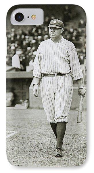 Babe Ruth Going To Bat IPhone Case by Jon Neidert