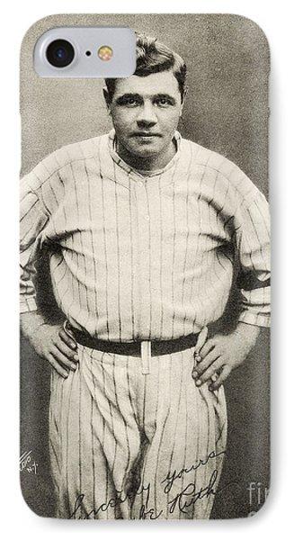 Babe Ruth Portrait IPhone Case by Jon Neidert