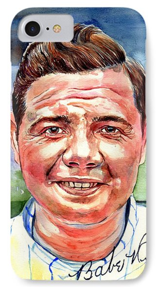Babe Ruth iPhone 7 Case - Babe Ruth Portrait by Suzann's Art