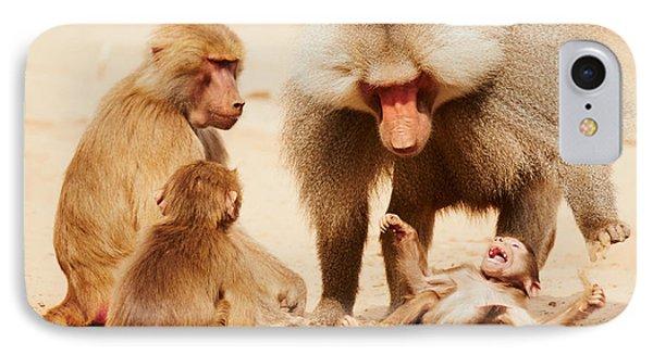 Baboon Family Having Fun In The Desert IPhone Case