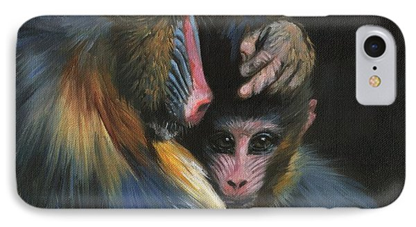 Baboon Mother And Baby IPhone Case by David Stribbling