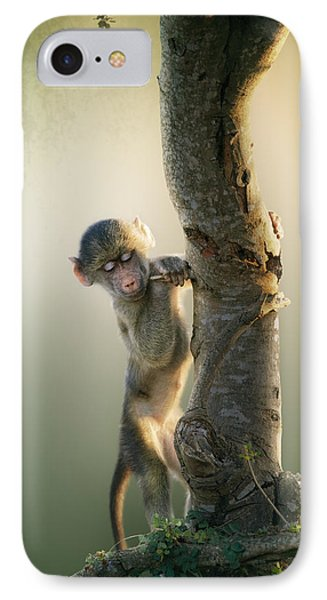 Baby Baboon In Tree IPhone Case by Johan Swanepoel