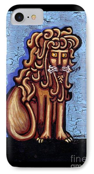 Baby Blue Byzantine Lion IPhone Case by Genevieve Esson