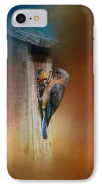 Baby Bluebird Breakfast IPhone Case by Jai Johnson