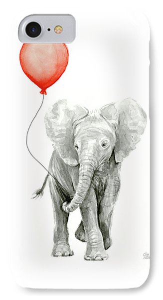 Baby Elephant Watercolor Red Balloon IPhone Case by Olga Shvartsur