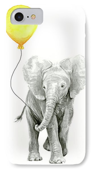 Baby Elephant Watercolor With Yellow Balloon IPhone Case by Olga Shvartsur