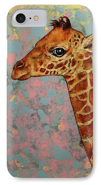 Baby Giraffe IPhone Case by Michael Creese