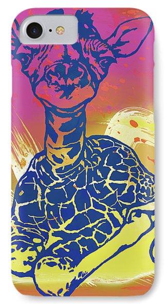 Baby Giraffe - Stylised Pop Art Poster IPhone Case by Kim Wang