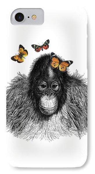 Baby Monkey With Orange Butterflies IPhone Case
