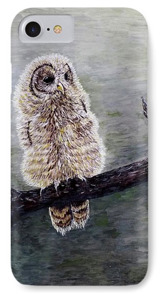 IPhone Case featuring the painting Baby Owl by Judy Kirouac