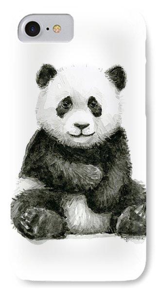 Baby Panda Watercolor IPhone Case by Olga Shvartsur