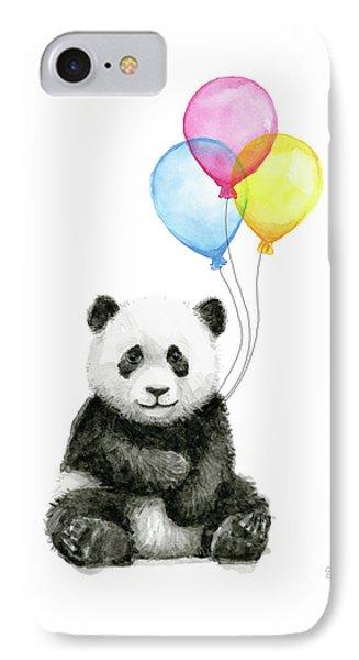 Baby Panda Watercolor With Balloons IPhone Case by Olga Shvartsur