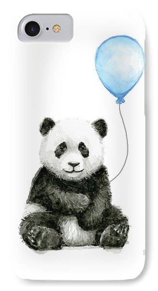 Baby Panda With Blue Balloon Watercolor IPhone Case by Olga Shvartsur