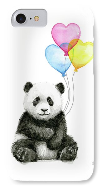 Baby Panda With Heart-shaped Balloons Phone Case by Olga Shvartsur