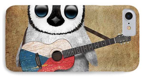 Baby Penguin Playing Czech Flag Guitar IPhone Case by Jeff Bartels