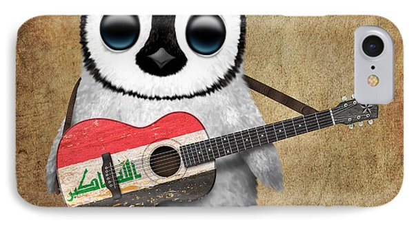 Baby Penguin Playing Iraqi Flag Guitar IPhone Case by Jeff Bartels