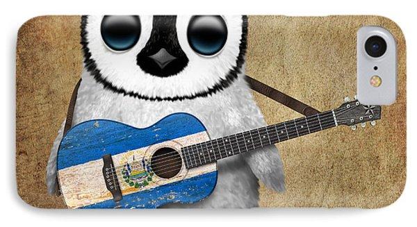 Baby Penguin Playing Salvadorian Flag Guitar IPhone Case