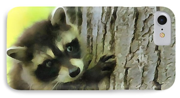 Baby Raccoon In A Tree IPhone 7 Case by Dan Sproul