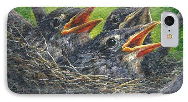 Baby Robins IPhone Case by Kim Lockman