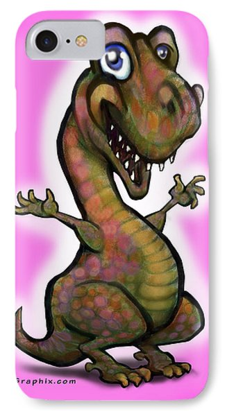 IPhone Case featuring the painting Baby T-rex Pink by Kevin Middleton