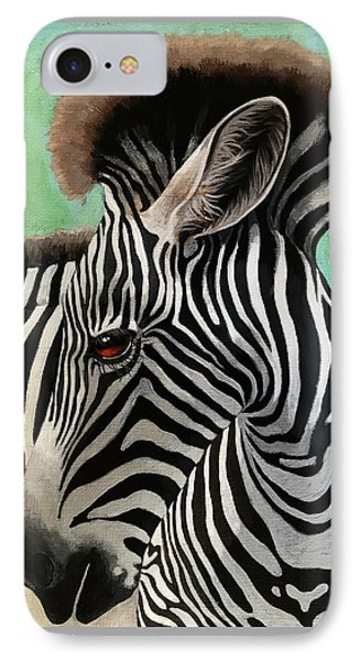 IPhone Case featuring the painting Baby Zebra by Linda Apple