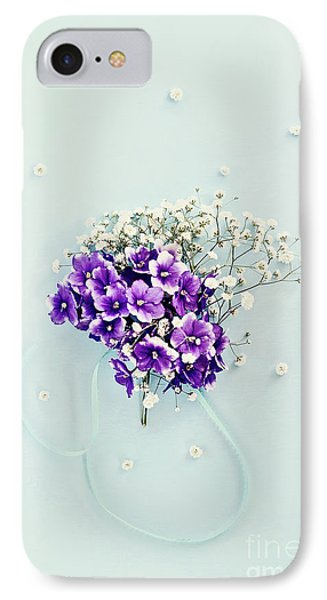 IPhone Case featuring the photograph Baby's Breath And Violets Bouquet by Stephanie Frey