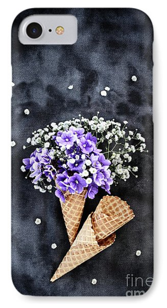 IPhone Case featuring the photograph Baby's Breath And Violets Ice Cream Cones by Stephanie Frey