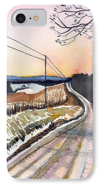 IPhone Case featuring the painting Backlit Roads by Katherine Miller
