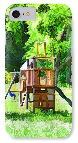 Backyard With Wooden Playground  IPhone Case by Lanjee Chee