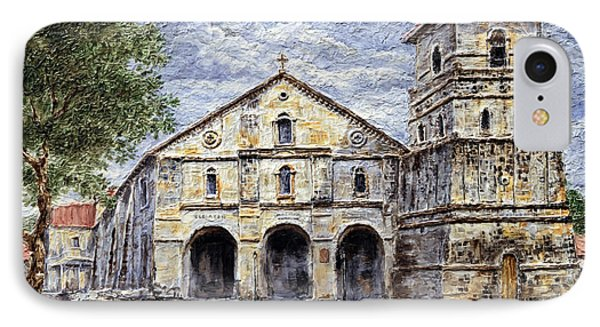 IPhone Case featuring the painting Baclayon Church by Joey Agbayani