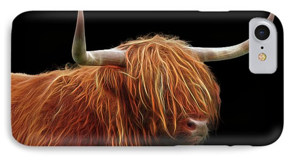 Bad Hair Day - Highland Cow - On Black IPhone Case by Gill Billington