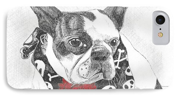 IPhone Case featuring the drawing Bad To The Bone by Arlene Crafton