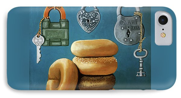 IPhone Case featuring the painting Bagels And Locks by Linda Apple