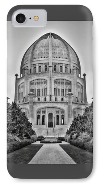 IPhone Case featuring the photograph Baha'i Temple - Wilmette - Illinois - Vertical Black And White by Photography  By Sai