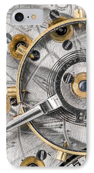 Balance Wheel Of An Antique Pocketwatch IPhone Case by Jim Hughes