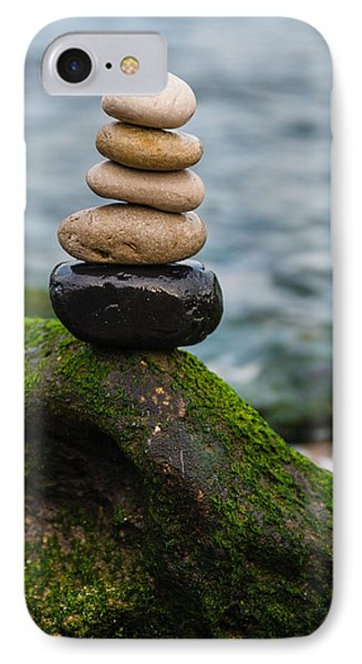 Balancing Zen Stones By The Sea IIi IPhone Case by Marco Oliveira