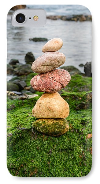 Balancing Zen Stones By The Sea Iv IPhone Case by Marco Oliveira