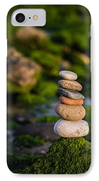 Balancing Zen Stones By The Sea IPhone Case by Marco Oliveira