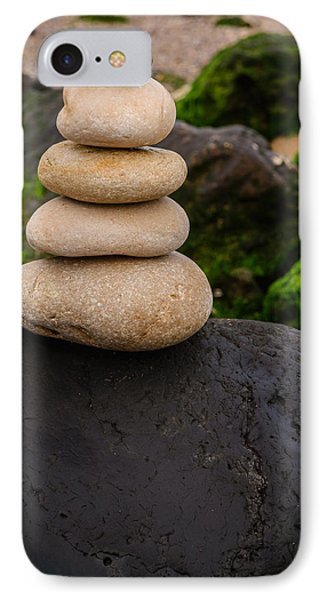 Balancing Zen Stones By The Sea V IPhone Case by Marco Oliveira