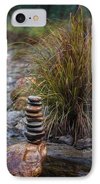 Balancing Zen Stones In Countryside River V IPhone Case by Marco Oliveira