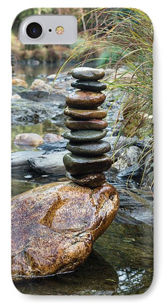 Balancing Zen Stones In Countryside River Vi IPhone Case by Marco Oliveira