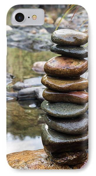 Balancing Zen Stones In Countryside River Vii IPhone Case by Marco Oliveira