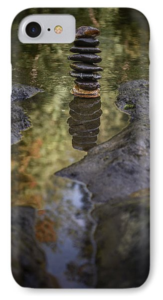 Balancing Zen Stones In Countryside River X IPhone Case by Marco Oliveira
